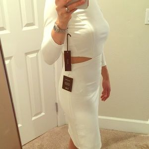 NWT white dress with elegant buttons and cutouts